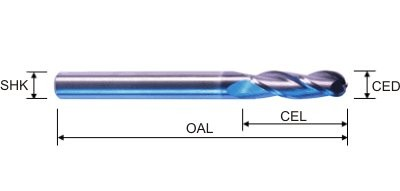 Two Flute Ballnose Bits Specifications