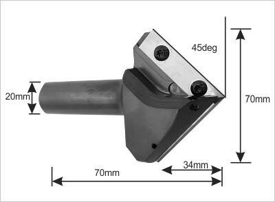 90 degree Replaceable Insert Vee cutter specifications